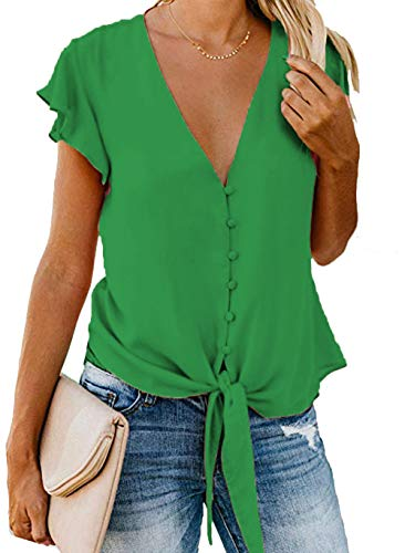 Barlver Womens Button Down V-Neck Tops Ruffle Cap Sleeve Tie Knot Chiffon Summer Shirt Blouses(Green-42 S)