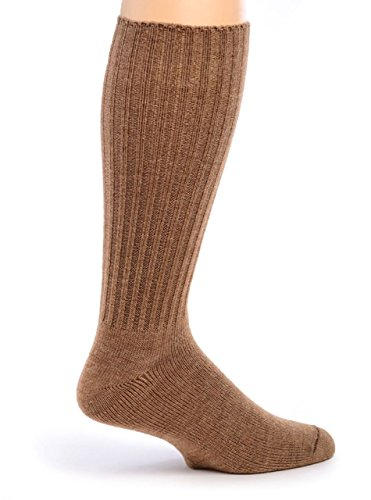 Womens Brown Wool - Warrior Alpaca Socks -Women's Ribbed Casual Everyday Alpaca Wool Crew Socks (Camel L)