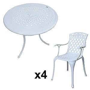 80 cm blanco Anna mesa y 4 blanco rosa sillas