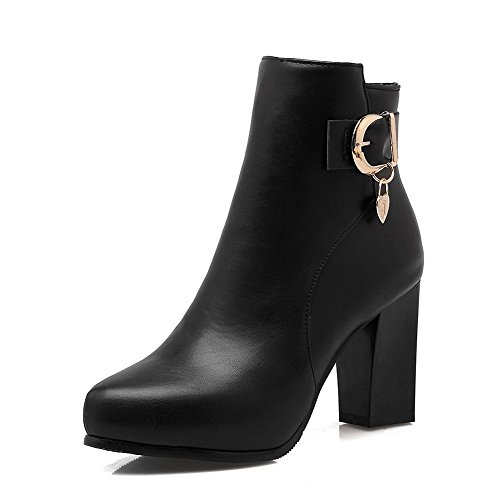 High with Top Heels Charms Boots Zipper Pu Women's Allhqfashion Black Solid Low EgwqH6