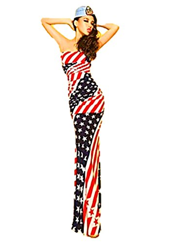 [T2C American Flag Long Maxi Dress Women's USA Star and Stripes Patterns Outfits] (Womens Material Pop Star Costumes)