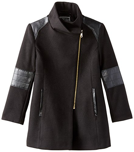 Rothschild Big Girls' Asymmetrical Zip Faux Wool Coat, Black, 8 by Rothschild