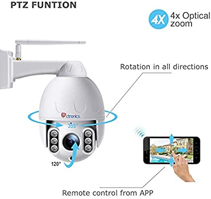 Ctronics PTZ WiFi Camera Outdoor,1080P Security IP Camera