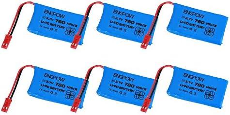 V636 Peanutaso 6PCS Engpow 3.7V 780mAh 1S Bater/ía Recargable de lipo Mini Conector de Enchufe JST para MJX X200 WLToys V686 V686G RC Drone V626