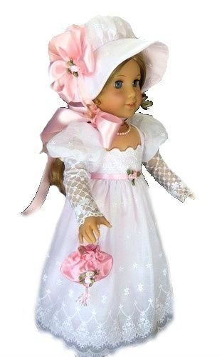 Fits 18 inch American Girl Dolls | Stunning White Victorian Christmas Colonial Wedding Christening Baptism Gown | Doll Dress Clothes Outfit (4 Piece (Colonial Gown Costume)