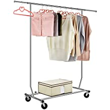 LANGRIA Heavy Duty Garment Rack Commercial Grade Adjustable Clothing Rack Supreme Rolling Rack Steel Adjustable Clothes Rack, Chrome Finish