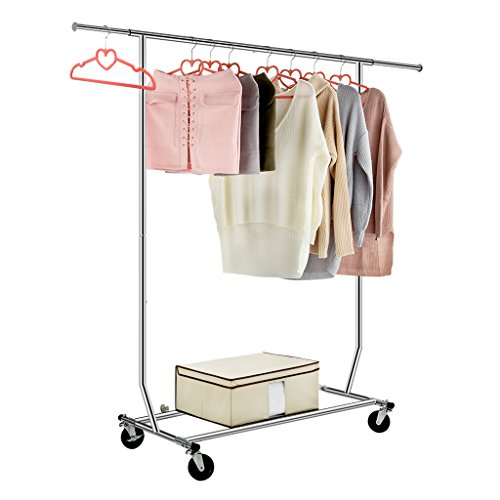 LANGRIA Heavy Duty Garment Rack Commercial Grade Adjustable Clothing Rack Supreme Rolling Rack Steel Adjustable Clothes Rack, Chrome Finish