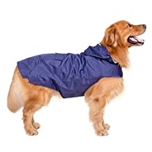 Elite Fashion Nylon Waterproof Fabric Velcro Closure Reflective Strip Pet Raincoat with Hood and pocket, Suits for Medium Large Dogs, Red/Blue