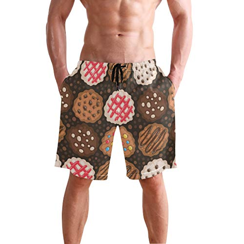 IMONKA Chocolate Chip Cookies Pattern Men's Swim Trunks Quick Dry Beach Board Short Casual Polyester Shorts with Pockets M