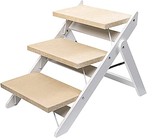 Niubya Wooden Sale Special Price Omaha Mall Foldable Dog Stairs for Portable 2-in-1 Ramp Pet