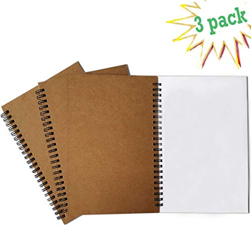Spiral Journal, 3Pack Spiral Notebooks, Thick Blank Paper 120 Pages Sketchbook, Notepad&Daily Planners (Khaki)