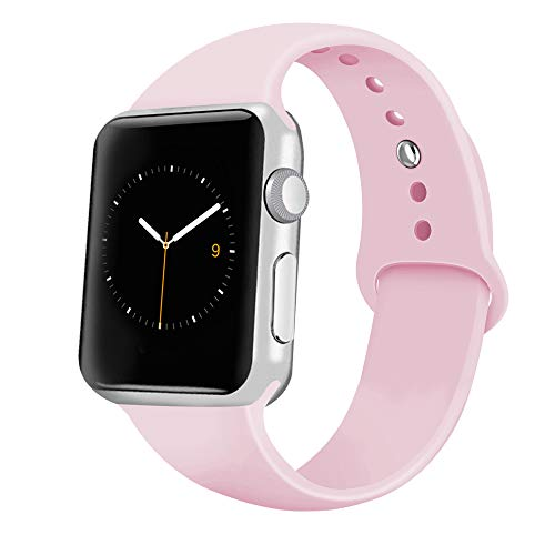 iGK Sport Band Compatible with Apple Watch 38mm/40mm, Soft Silicone Sport Strap Replacement Bands for iWatch Apple Watch Series 4 Series 3, Series 2, Series 1 38mm/40mm Pink Sand Small]()
