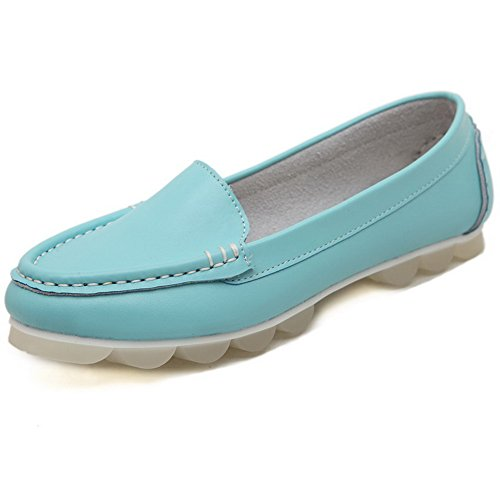 Toe Round Pull Solid Frosted No AalarDom On Blue Shoes Flats Womens Heel w5qR1E