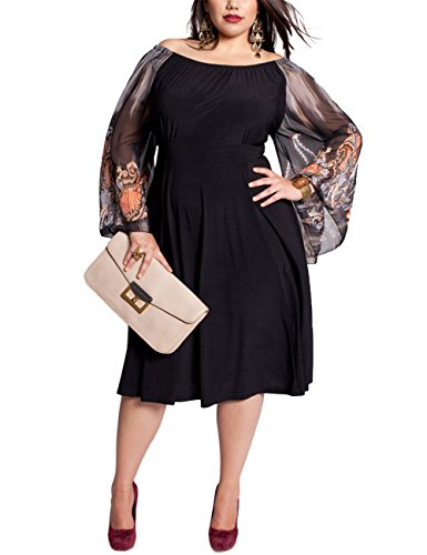 Women Fashion Black Off Shoulder Raglan Long Sleeve Plus Size Casual Midi - Mn In Macys
