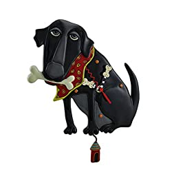 Allen Designs Resin Wall Clocks Parker The Dog Black Pendulum Wall Clock 13 In. 7.5 X 13.5 X 1.25 Inches Black