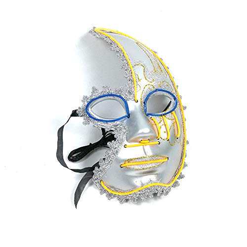 Neon Nightlife Men's Light up Mask(10.636.33.54in/Voice Switch-Dark Blue+Yellow)