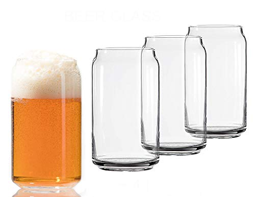 12 Ounce Glass Pourer - Libbey Can Shaped Beer Glass - 16 oz - 4 PACK w/Pourer