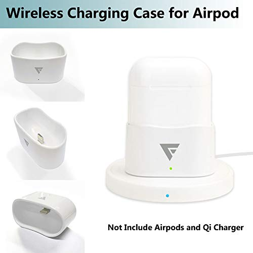 Wireless Charging Case Compatible with Airpod. FOINNEX Wireless Charging Conversion Base/Receiver with Indicator Light for Airpod, Compatible with All QI Wireless Charger.