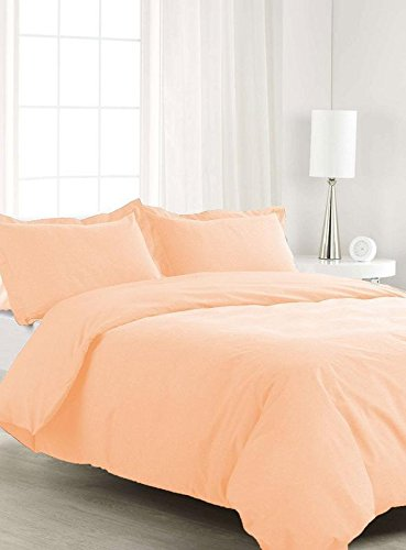 Italian Luxury Zipper Closure 1-Piece Duvet Cover, Ultra Soft Egyptian Cotton, 550-Thread Count Solid Pattern - Peach Color ( Queen Size )