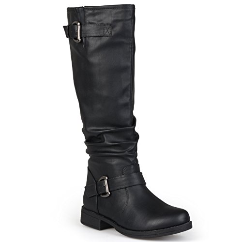 Journee Collection Womens Extra Wide-Calf Buckle Knee-High Riding Boots Black, 9 Extra Wide Calf US