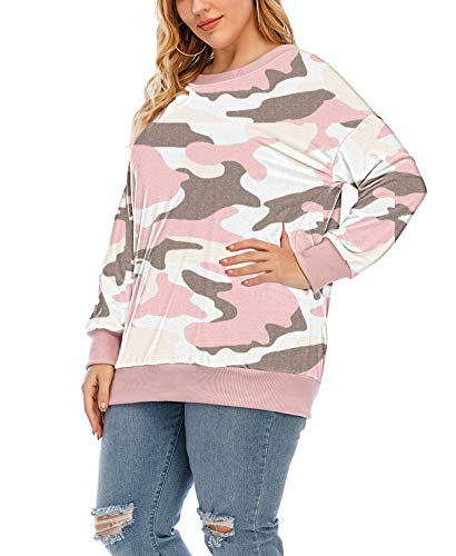 YASAKO Womens Plus Size Casual Tie Dye Camo Print Long Sleeve Shirts Crew Neck Loose Fit Sweatshirt Pullover Tops (Camouflage Pink, 2X-Large)