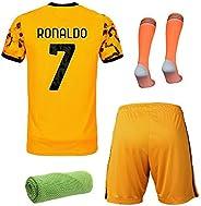 20/21 Kids Youth Away Kit Short Sleeve Soccer Jersey, Shorts,Socks,Towel,4in1 Gift Set,#7 Ronaldo #10 Dybala,O