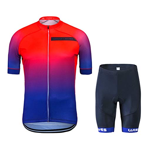 - Men's Cycling Jersey Set Short Sleeve Road Bike Clothing Quick-Dry Bicycle Shirt Outdoor Riding Sportswear Red