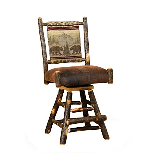 Hickory Rustic Bar Stool - Furniture Barn USA Set of Two Rustic Hickory Straight Back Swivel Stools-Bar Height-R. Bradley Fabric