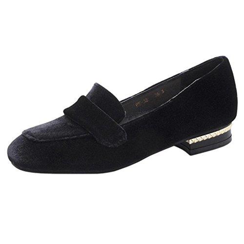COOLCEPT Women Fashion Loafers Court Shoes Black