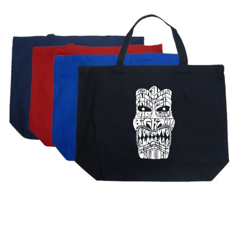Large Word Art Royal Tiki Tote Bag - Tiki - Big Kahuna Word - Maui Kahuna Big