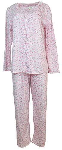 Sindrella Women's Plus Size Cotton Blend Pajama Set, Mini Roses (XL, Pink) -