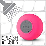 Splash Tunes Shower Speaker - Waterproof Bluetooth Shower Speaker, Portable, Hands-Free, Wireless, Water Resistant, Shower Speaker with Built-in Mic and Suction Cup - Pink