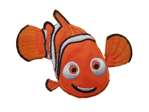 CLOWNFISH Iron On Patch * Lot of 2 pieces * Fabric Applique Clown Fish Animal Motif Decal 3.5 x 3.2 inches (9 x 8 cm)