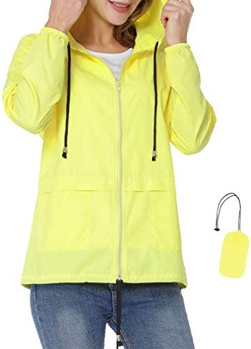 Dakiwin Womens Lightweight Rain Jacket Waterproof Raincoat Packable Hooded Windbreaker Outdoor
