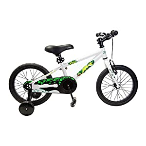 "Ryda Bikes Adventurer - 16"" White Toddler Kids Bike with Training Wheels and Flat Proof Bicycle Tires"