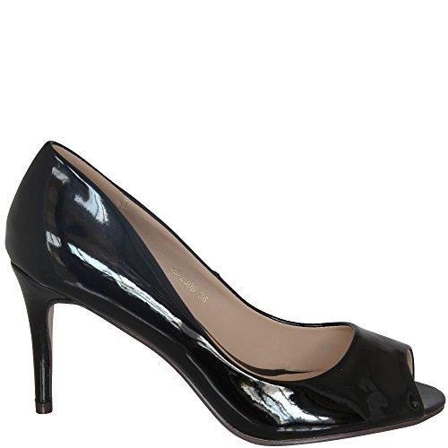 Escarpins Femme toe Peep Noir Blanc Ideal UF4Oqx688w