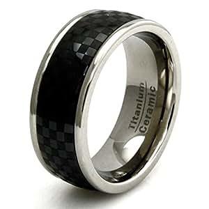 Anillo de Titanio con Fibra de Carbono Negro Cerámica Embutido Banda Diseño - Tamaño 14,5