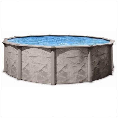 QCA Spas 106AD2152 Aqua Deluxe 21-Feet Round and 52-Inch Deep Above Ground Pool with Blue Overlap Liner by QCA Spas