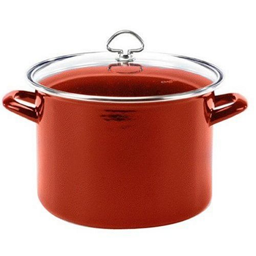 Chantal Enamel-On-Steel 8-Quart Stockpot with Tempered Glass Lid, Chili Red