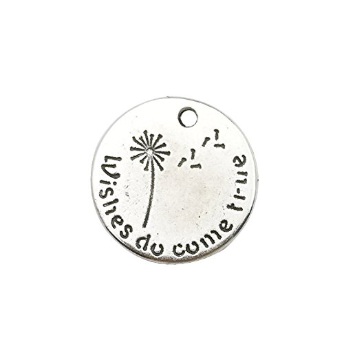 30pcs Antique Silver Round Dandelion Wishes do Come True Inspiration Words Charms Craft Supplies Tag Charms Pendants for Crafting, Jewelry Findings Making Accessory for DIY Necklace Bracelet