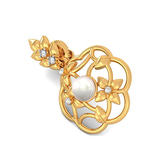 18K Or jaune 0,03CT TW White-diamond (IJ | SI) et blanc perle Pendants d'oreilles