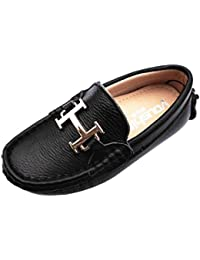 Boys Girls Fashion Breathable Pure Colour Slip On Black Leather Loafers Boat Shoes