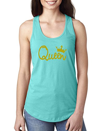 Queen Gold Script | Womens Pop Culture Jersey Racerback Graphic Tank Top, Tahiti Blue, Large -