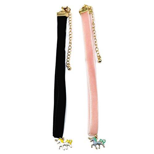 kockuu Adjustable Unicorn Collar Choker Necklace, 2 Pieces Black + Pink Velvet Ribbon Collar Girls Kids Women Unicorn Pendant Necklace