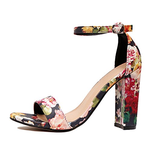 Heel Womens Short Medium (Guilty Heart | Womens Comfort Open Toe Ankle Strap Chunky Block High Heel | Sexy Dress Formal Party Sandal (8.5 B(M) US, Floral))