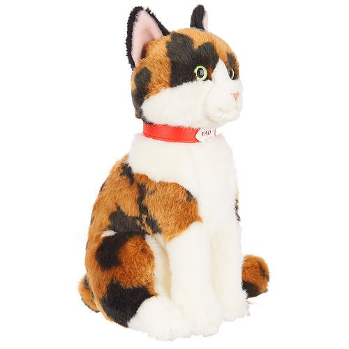 FAO Schwarz 10 inch Plush Calico Cat - White/Ginger