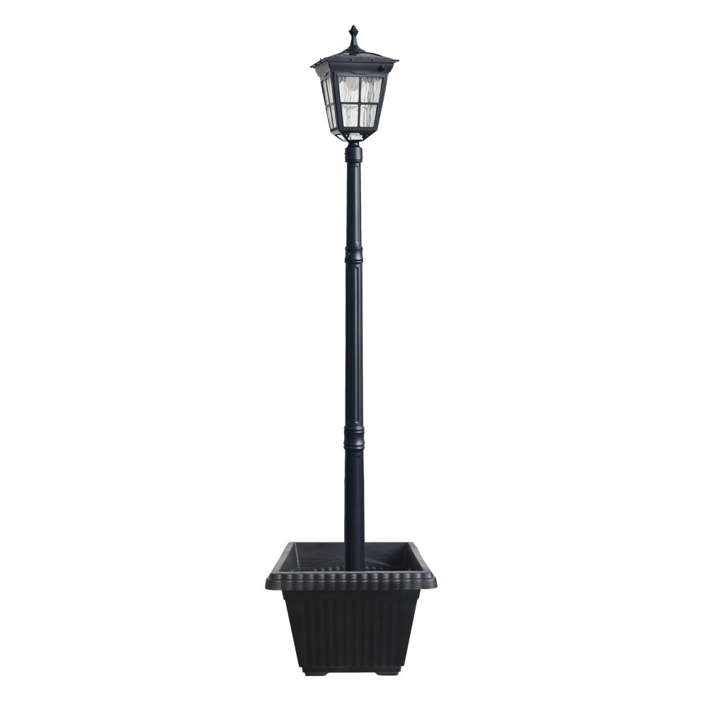 Kemeco ST4311AHP 6 LED Cast Aluminum Solar Lamp Post Light with Planter for Outdoor Landscape Pathway Street Patio Garden Yard