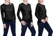 TEXFIT Women's 3-Pack Quick Dry Long Sleeve Shirts, Moisture Wicking (3pcs