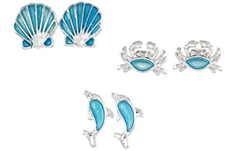 Set of 3 Pair Periwinkle Coastal Blue Post Earrings - Crab, Dolphin, (3 Pair Set)