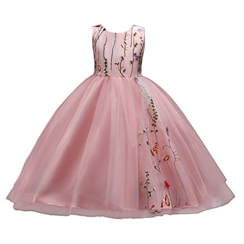 Little Big Girls Embroidery Flower Princess Tulle Lace Bridesmaid Dress Pageant Party Wedding Maxi Evening Dance Gown - Embroidered Bodice A-line Satin
